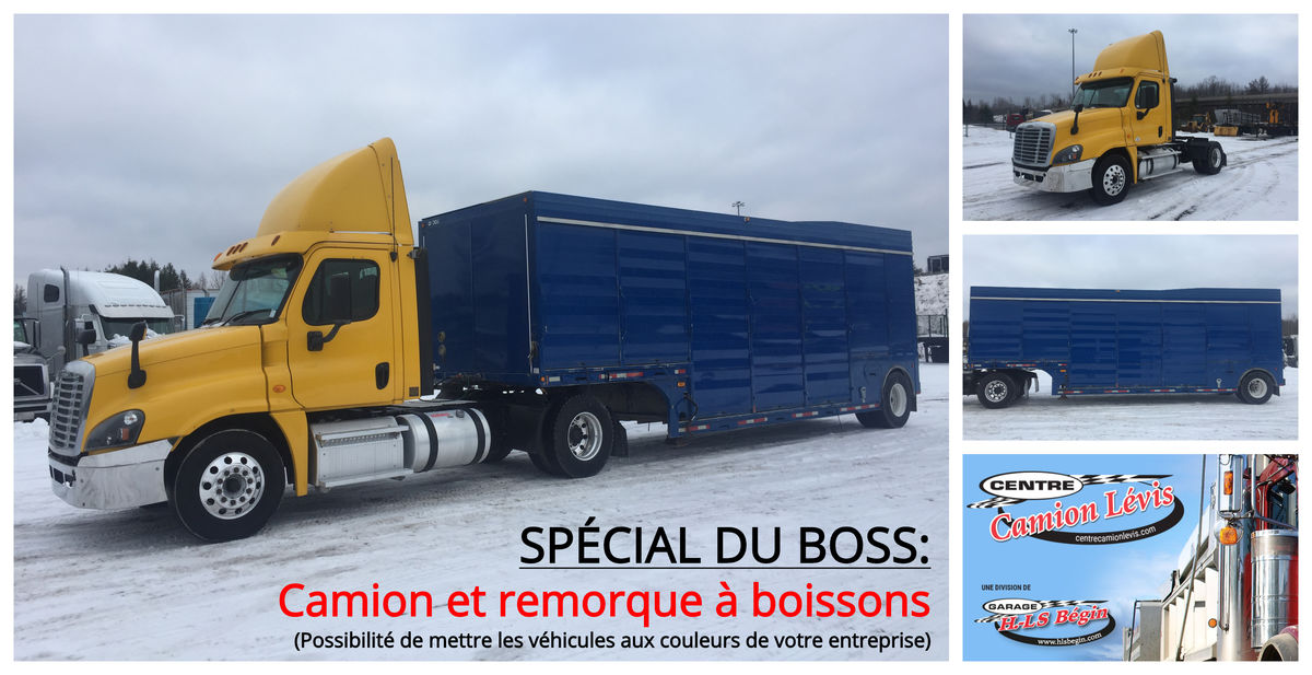 --- BOSS SPECIAL: DAY-CAB & DRINK TRAILER, CAN BE PAINTED WITH YOUR BUSINESS COLORS ---  2013 FREIGHTLINER CA125 - Stock number: F1020 - Mileage: 231,447 km - Hours: 1,038 hours - Exterior color: Yellow - Interior color: Gray - Engine: DD13 12.8 L - Power: 410 hp - Couple: 1,800 - Brakes: air - Jacob engine brake: Yes - Transmission: Eaton Fuller FRO-1420C - 10 Speeds - Front axle: 12,000 lbs - Rear axles: 23,000 lbs - Differential: Dana-Spicer S23-190 - 23,000 lbs - Ratio: 3.73 - Suspension: air - Cabin: day-cab - Wheels: Aluminum - Tires: 11R22.5 - Wheelbase: 174 inches - AC: 100 inches  2003 PARCO-HESSE TRAILER - Stock #: M2256 - Length: 30 feet 10 inches - Year: 2003 - 12 side doors - Rear doors - Wheels: steel - Tires: 11R22.5  Note that we have two locations where vehicles can be located, in Lévis or Saint-Georges. Please contact one of our advisors to be informed of the location of the vehicle before traveling.