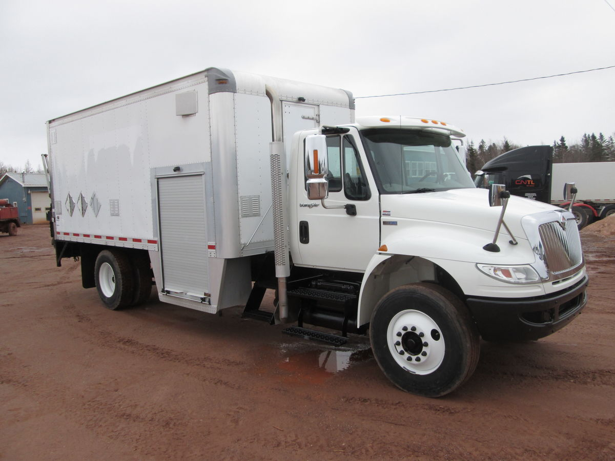 2014 INT 4300, Maxforce 230HP engine, 5 speed Allison transmission with PTO, Wheel base 236', 297000kms.  Axle rating 12000lbs front 21000lbs rear axle ratings, bud steel wheels with 11R22.5 tires.  Has PTO provision, 18